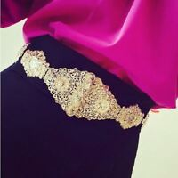 Luxury Ladies Women Gold Metal Elastic Stretch Waistband Waist Belt