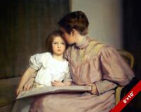 MOTHER TEACHING YOUNGER CHILD GIRL OIL PAINTING ART REAL CANVAS GICLEE PRINT