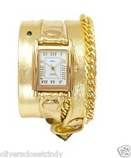 LA MER COLLECTIONS Glam Gold Chain Gold Leather Wrap Watch New