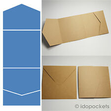 100 x KRAFT BROWN SQUARE VERTICAL WEDDING INVITATION ENVELOPES DIY POCKET 150MM