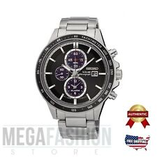 NEW SEIKO MENS´S SOLAR CHRONOGRAPH BLACK DIAL SILVER WATCH SSC435P1 AUTHENTIC