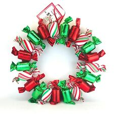 """Christmas Wreath 18"""" Candy Wrapper Sweets Holiday Red Green Michaels NEW NOS"""