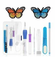 Embroidery Stitching Punch Needle Tool Set + 50 Mix Colors Sewing Thread+4 Hoops