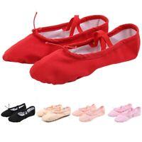 Girls Ballet Elastic Band Dance Shoes Canvas Gymnastics Flats Split Sole Shoes