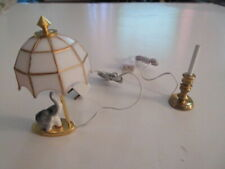 Two Dollhouse Miniature Lighted Electric Table Lamps-New