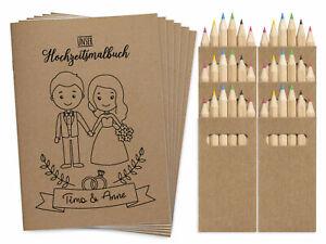 Malbücher Hochzeit Gastgeschenk für Kinder Set Hochzeitsmalbuch mit Buntstiften