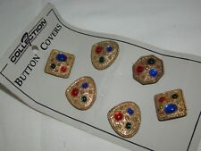 Vintage COLLECTION 7 Gold Metal with Colored Beads Button Covers Lot of 6 NEW