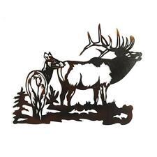 Elk Metal Wall Art Heavy Gauge Powder Coat Handcrafted Rustic Laser Cut Durable