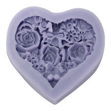 3D Heart Rose Flower Silicone Chocolate Mould Fondant Candle Soap Mold