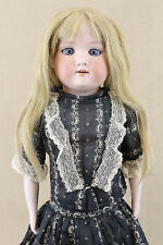 "20"" Antique Bisque Shoulder Head Doll in 1880s style clothing w kid leather body"
