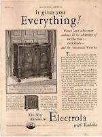 1927 ORIGINAL VINTAGE VICTOR ELECTROLA WITH RADIOLA PHONOGRAPH MAGAZINE AD