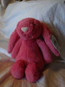 """RARE new JELLYCAT Bashful Bunny Strawberry Pink Rabbit Small 7"""" Plush"""