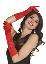 1940s Temptress Long Red Satin Gloves