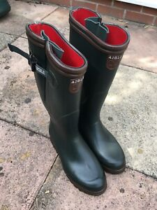 AIGLE PARCOURS ISO GREEN BOOTS SIZE 42 Wellingtons