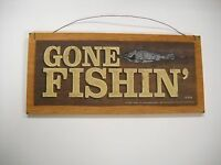 gone fishin wooden wall art sign Lodge cabin lake fishing home Decor
