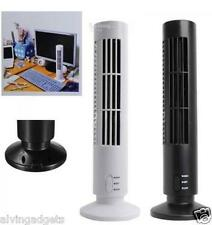 USB Mini Fan Bladeless No Leaf Air Conditioner USB Cooling Desk Tower Fan(White)
