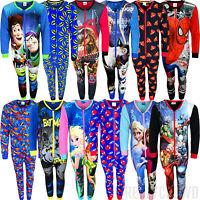 Kids Character Pyjamas Pjs All In One Cartoon Nightwear Fleece Gift Girls Boys