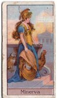Minerva Ancient  Roman Goddess  Wisdom And Sponsor Of Art 1920s Trade Ad Card