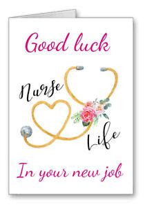 Good Luck Nurse Card In Your New Job nurse Life Watercolour Effect 2