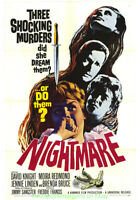 NIGHTMARE MOVIE POSTER Original 27x41 Fine Condition 1964 HAMMER HORROR
