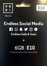 VOXI SIM Card Endless Social Media, 6GB for £10, 4G Nano Micro PAYG Vodafone