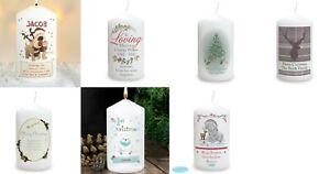 Personalised Christmas Pillar Candle Choose Design #1