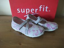 Girls SUPERFIT Beige Glitter CANVAS Hook/Loop Non-Marking SHOE UK 7.5 Eur 25 NEW