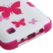 LG Treasure Tracfone -  PINK BUTTERFLY HIGH IMPACT HYBRID CASE COVER SKIN ARMOR