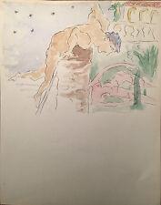 Duncan Grant Original Rare Watercolour Painting Nude Figures
