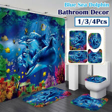 Blue Sea Dolphin Print Bathroom Waterproof Shower Curtain Toilet Cover Mat Set