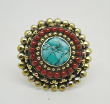 Tribal Turquoise jeewelry Handmade Cg8 Brass Ring Asian design Ring Stone
