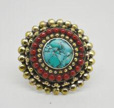 vintage Asian Ring Wedding Cg27 Ethnic Brass Ring Stone Tribal