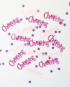Pink Bunting Christening Girls Purple Stars Table Confetti Decoration 14-84g