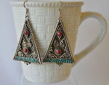 Vintage Turquoise Coral Earrings Handmade Bohemian Tibetan Silver Oxidised