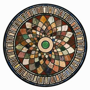 """36"""" Marble Dining Table Top Inlay Rare Semi Round Center Coffee Table AR0875"""