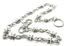 "NEW 26"" Silver Chrome Barb Wire Biker Trucker Jean Wallet Thick Heavy Chain"