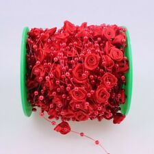 1m rote Girlande mit Perlen und Seidenblumen Hochzeit Deko