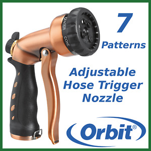 Orbit 7 Pattern Adjustable Trigger Turret Garden Hose Nozzle Copper Look