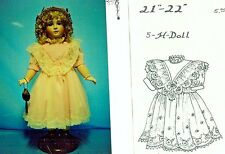 "20-21""ANTIQUE FRENCH DOLL DRESS SHOES STOCKINGS CROCHET HAT PURSE PATTERN GERMAN"