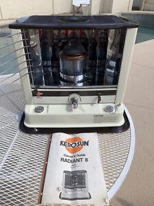Kero-Sun Radiant 8 8200BTU Kerosene Heater Ivory Brown Excellent with Manual