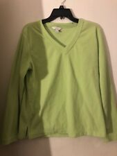 EUC Women's Charter Club 100% Polyester Lime Geen V Neck Sweater Size Medium
