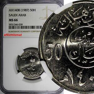 Saudi Arabia UNITED KINGDOMS AH1408(1987) 50 Halala NGC MS66 KM# 64 (9)
