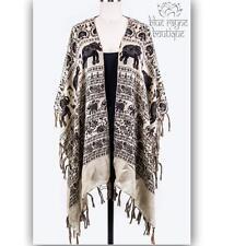 Taupe Elephant Paisley Fringe Light Open Kimono Bohemian Free Spirit Cardigan