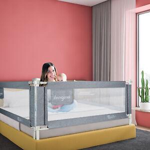150cm Bettgitter Bettschutzgitter Rausfallschutz für Baby/Kinder Bettgitter Grau