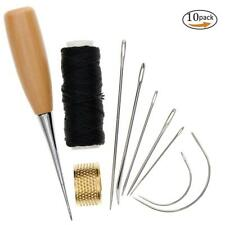 7Pcs Sewing Needles Leather Waxed Thread Cord Drilling Awl Thimble Unique jzus