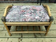 Vintage Cane & Bamboo Footstool Rack -Removable Cushion- Ideal For Cat / Dog Bed