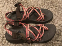 Chaco Womens Size 9 Canvas Strappy Sport Sandals Shoes Red Brown EUC