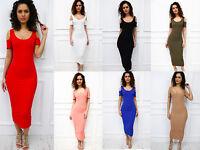 New Womens Ladies Summer Cold Shoulder Cut Out Bodycon Pencil Midi Celeb Dress