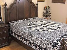Mandala Elephant Reversible Duvet Cover Beige Cotton Print Comforter Double