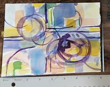 Impressionist modern abstract Original watercolor Listed Garnie Quick 1921-2013